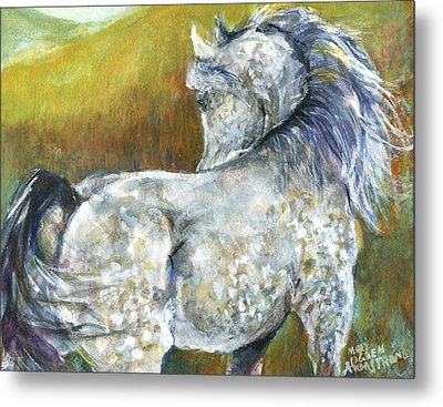 Metal Print featuring the painting Looking Back by Mary Armstrong