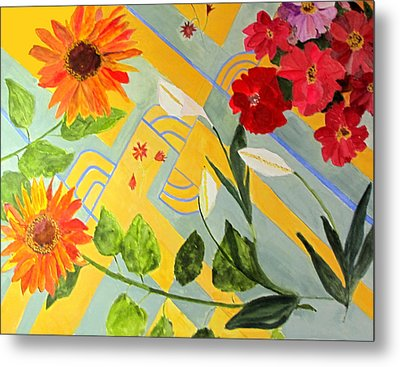 Metal Print featuring the painting Looking Down On The Flowers On The Tile Floor by Sandy McIntire
