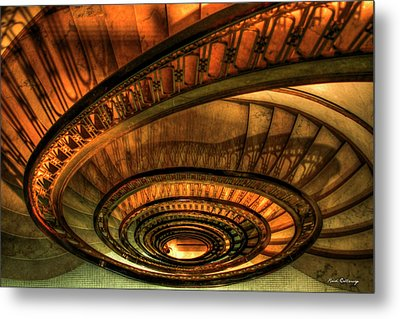 Looking Down The Ponce Spiral Staircase Atlanta Georgia Art Metal Print