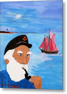 Looking For His Ship To Come In Metal Print