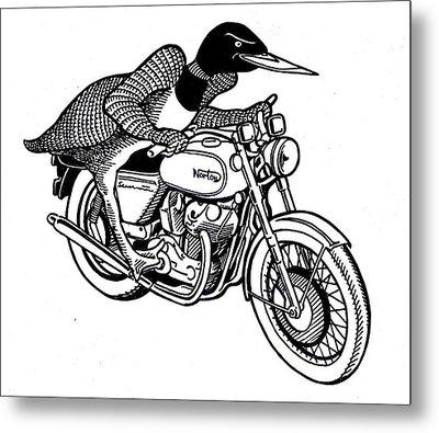 Loonie Rider On Norton Metal Print