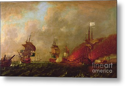 Lord Howe And The Comte Destaing Off Rhode Island Metal Print by Robert Wilkins
