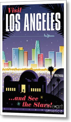 Los Angeles Retro Travel Poster Metal Print by Jim Zahniser