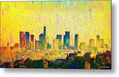 Los Angeles Skyline 1 - Pa Metal Print by Leonardo Digenio