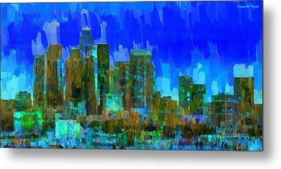 Los Angeles Skyline 102 - Pa Metal Print by Leonardo Digenio