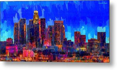 Los Angeles Skyline 106 - Pa Metal Print by Leonardo Digenio