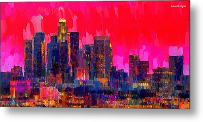 Los Angeles Skyline 111 - Da Metal Print