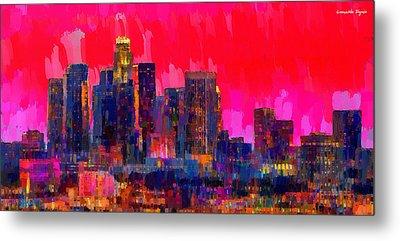 Los Angeles Skyline 111 - Pa Metal Print by Leonardo Digenio