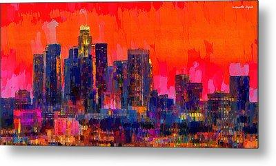 Los Angeles Skyline 112 - Pa Metal Print by Leonardo Digenio
