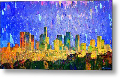 Los Angeles Skyline 5 - Da Metal Print by Leonardo Digenio