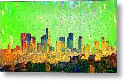 Los Angeles Skyline 6 - Pa Metal Print by Leonardo Digenio