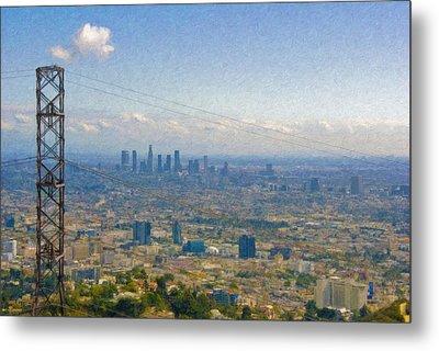 Los Angeles Skyline Between Power Lines Metal Print