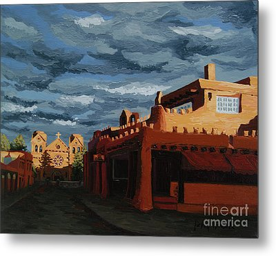 Metal Print featuring the painting Los Farolitos,the Lanterns, Santa Fe, Nm by Erin Fickert-Rowland