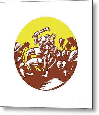 Losi Defeating God Circle Woodcut Metal Print