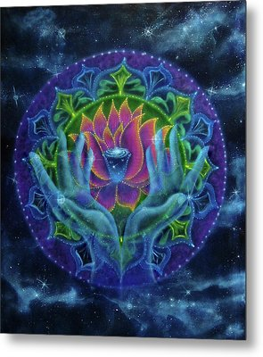Lotus Of Light Metal Print by Deborah Wright