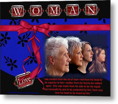 Metal Print featuring the photograph Love A Woman by Kathy Tarochione
