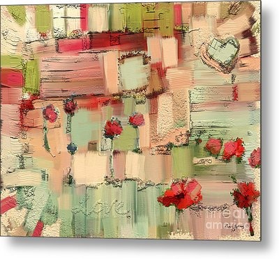 Metal Print featuring the mixed media Love Abstract by Carrie Joy Byrnes