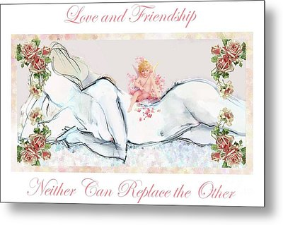 Metal Print featuring the mixed media Love And Friendship - Valentine Card by Carolyn Weltman