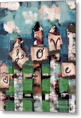 Metal Print featuring the mixed media Love Fence by Carrie Joy Byrnes