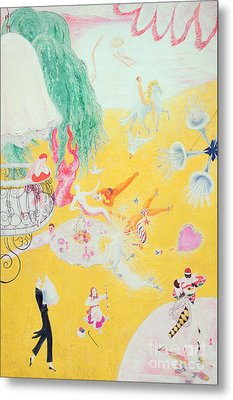 Love Flight Of A Pink Candy Heart Metal Print by  Florine Stettheimer