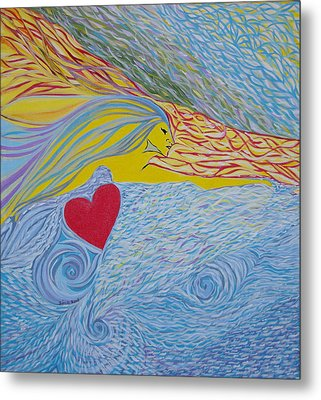 Metal Print featuring the painting Love For Ever by Sima Amid Wewetzer
