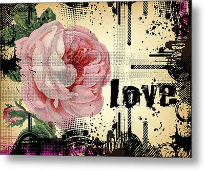 Metal Print featuring the digital art Love Grunge Rose by Robert G Kernodle