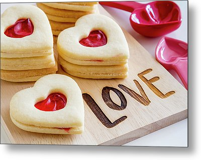 Metal Print featuring the photograph Love Heart Cookies by Teri Virbickis