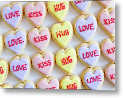 Metal Print featuring the photograph Love Kiss Hug Heart Cookies by Teri Virbickis