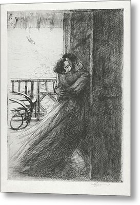 Metal Print featuring the drawing Love - La Femme Series by Paul-Albert Besnard