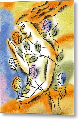 Love, Roses And Thorns Metal Print by Leon Zernitsky