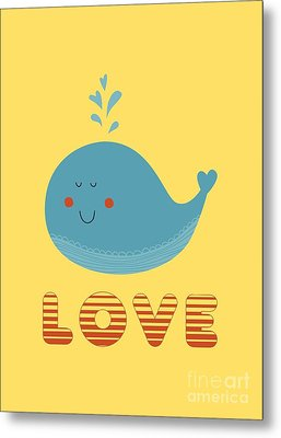 Love Whale Cute Animals Metal Print by Edward Fielding