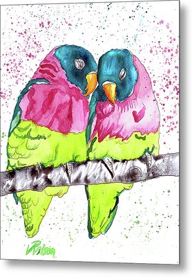 Lovebirds Metal Print by D Renee Wilson