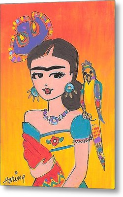 Lovely Frida And Her Parrot Metal Print by Karen Haring