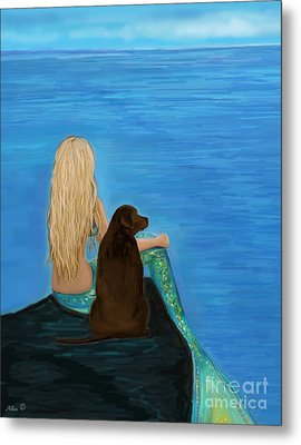 Metal Print featuring the painting Loving Lab Loyalty by Leslie Allen