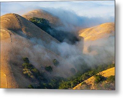 Low Clouds Between Hills Metal Print
