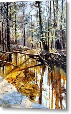 Metal Print featuring the painting  Lubianka-2-river by Henryk Gorecki