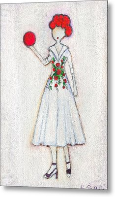 Lucy's Rosey Red Ball Metal Print by Ricky Sencion