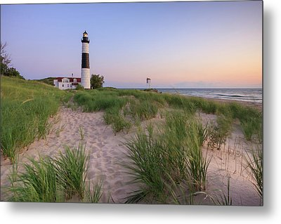 Metal Print featuring the photograph Ludington Beach And Big Sable Point Lighthouse by Adam Romanowicz