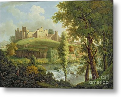 Ludlow Castle With Dinham Weir Metal Print by Samuel Scott