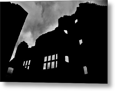 Ludlow Storm Threatening Skies Over The Ruins Of A Castle Spooky Halloween Metal Print by Andy Smy