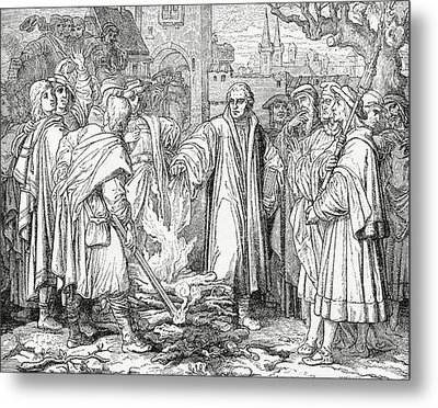 Luther Burning The Papal Bull Metal Print by English School