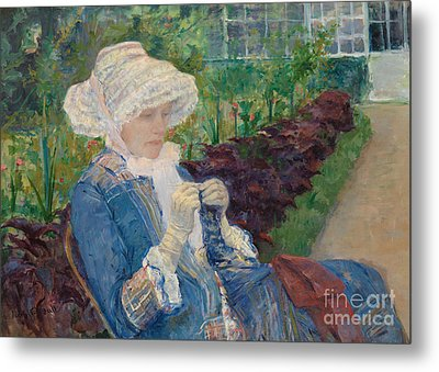 Lydia Crocheting In The Garden At Marly Metal Print