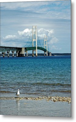 Metal Print featuring the photograph Mackinac Bridge With Seagull by LeeAnn McLaneGoetz McLaneGoetzStudioLLCcom