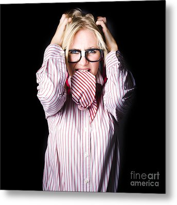 Mad And Angry Businesswoman Pulling Out Hair Metal Print by Jorgo Photography - Wall Art Gallery