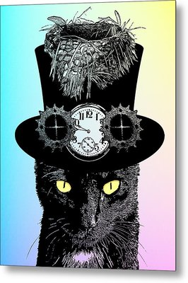 Mad Hatter Cat Metal Print