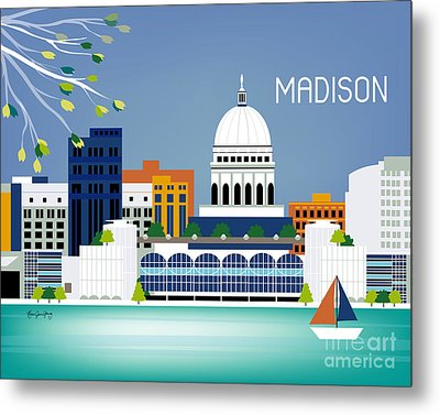Madison Wisconsin Horizontal Skyline Metal Print by Karen Young