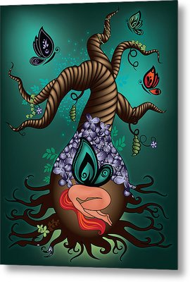 Magic Butterfly Tree Metal Print by Serena King
