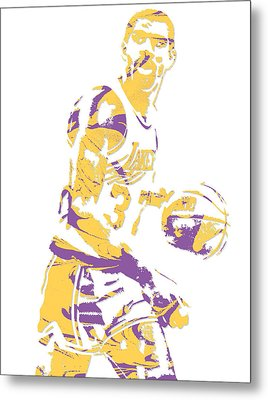 Magic Johnson Los Angeles Lakers Pixel Art 6 Metal Print