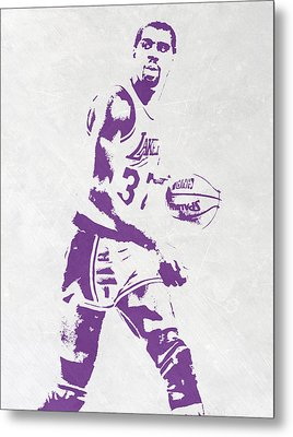 Magic Johnson Los Angeles Lakers Pixel Art Metal Print