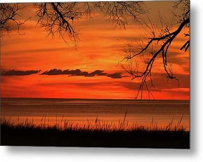 Magical Orange Sunset Sky Metal Print